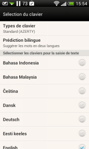 clavier bilingue Android